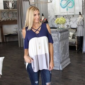 LAST ONE! Navy Cold Shoulder Color Block Tunic